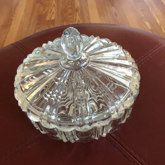 Vintage MCM Heavy Clear Glass Lidded Candy Dish